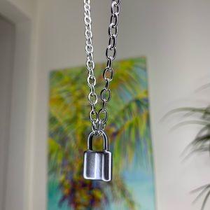 chunky heavy silver lock pendant choker necklace